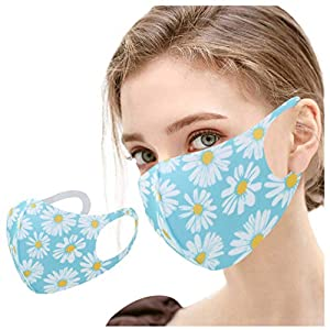 THARK 1 Pcs Reusable Adult Face_Mask, Comfortable Face_Mask Breathable Protection, Fully Machine Washable & Anti-Dust Ice Silk Fabric Face Cloth with Spring Summer Flower Printed for Women's Favor