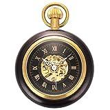 ManChDa Abierto de la Cara Romano Cobre Madera Reloj de Bolsillo mecánico Steampunk Esqueleto Negro para los Hombres Mujeres con Cadena + Caja Regalo (3. Negro)