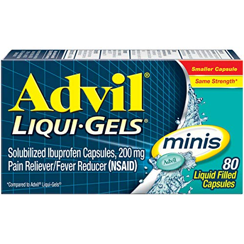 Advil Liqui-Gels minis Pain Reliever and Fever Reducer, Pain Medicine for Adults with Ibuprofen 200mg for Pain Relief - 80 Liquid Filled Capsules