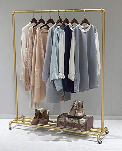 QL-SHELF Industrial Pipe Tidy Rails Rack,63in Clothing Garment Racks Clothing Hanger Display Rack, Vintage Commercial Rolling Rack on Wheels, Metal Ballet Dress Racks (Gold)