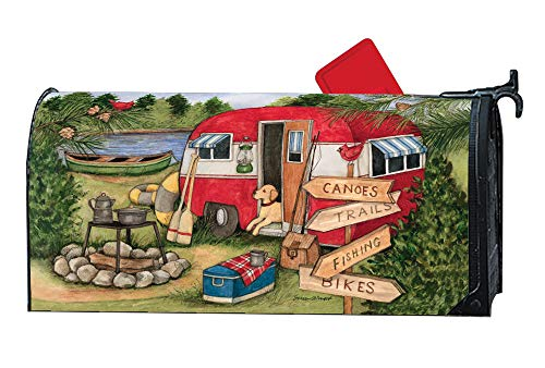 Studio M Camping Weekend Decorative Summer Lake Cabin MailWrap, The Original Magnetic Mailbox Cover, Made in USA, Superior Weather Durability, Standard Size fits 6.5W x 19L Inch Mailbox