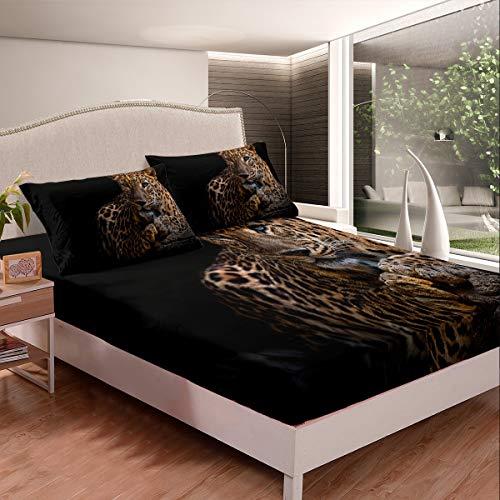 Juego de sábanas bajeras de leopardo con patrón de guepardo para niños, adolescentes, animales salvajes, juego de ropa de cama estilo vida salvaje, 2 unidades, tamaño individual, color negro