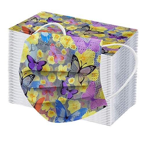RUITOTP 100 pc Unisex Erwachsene Gesichtsschutz Frauen Männer Universal 3 Schicht Mode Schmetterling gedruckt niedlich elastisch Earloop Bandanas Schal-4