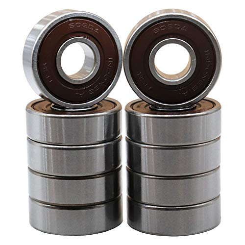 NSK 608-2RS 608DD 10Pcs Precision Bearings 8x22x7mm, Rotating Quiet High Speed and Durable & Double Rubber Seal and Pre-Lubricated, Deep Groove Ball Bearings.