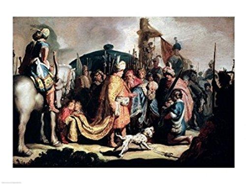 Pôster impresso David Oferecendo a Cabeça de Golias para o Rei Saul de Rembrandt Van Rijn - 91,44 x 60,96 cm - Grande
