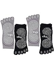 CaiDieNu Pilatesokken met tenen, antislip, yoga-sokken met rubberen zool, noppen sokken, ideaal voor dans, fitness, baunmwol, teensokken, 4 paar