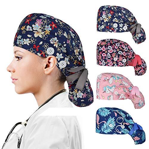 Reesibi 4 Gorros Quirofanos para Mujer, Gorros Ajustables Cap Hat Turbante Pelo Sombrero Trabajo Fines Multiples, Estampado Gorro, Gorro Ducha - 4 Gorros