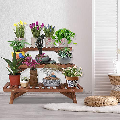 Ufine Freestanding 3 Tier Step Design Plant Stand Indoor Outdoor Wood Plant Shelf Display Rack Ladder Flower Pot Holder Planter Organizer