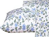 Ruvanti 100% Cotton 4 Piece Flannel Sheets Full Floral Design- Deep Pocket -Warm-Super Soft-Breathable & Moisture Wicking Flannel Bed Sheet Set Full Include Flat Sheet, Fitted Sheet & 2 Pillowcases
