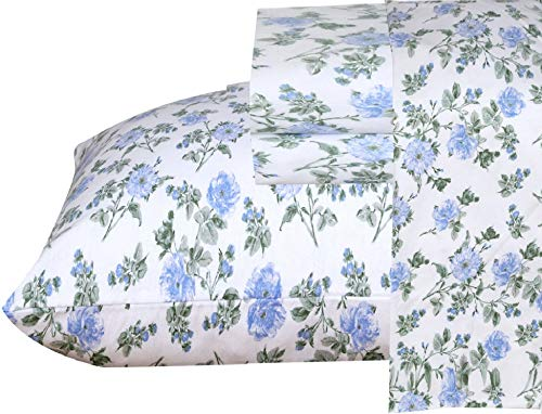 Ruvanti 100% Cotton 4 Piece Flannel Sheets Queen Floral Design- Deep Pocket -Warm-Super Soft-Breathable & Moisture Wicking Flannel Bed Sheets Set Queen Include Flat Sheet, Fitted Sheet & 2 Pillowcases