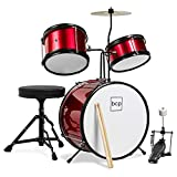 Best Choice Products Kids Beginner 3-Piece Drum Set, Junior Size Musical Instrument Practice Kit w/ Sticks, Cushioned Stool, Cymbal, 2 Toms, Bass, Drum Pedal - Red