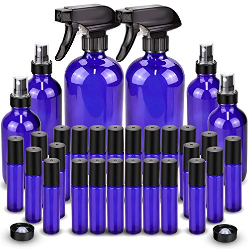 Glass Spray Bottle, Wedama Roller Bottles, Essential Oil Roller Bottles Kits (2 x 16oz,4 x 4oz,24 x 10ml) with Accessories for Aromatherapy Facial Hydration Watering Flowers Hair Care -Blue