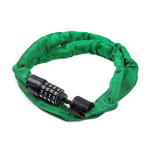 Nologo YCBHD - Catena antifurto con combinazione a 4 cifre, antifurto, codice di sicurezza, lucchetto in acciaio, per ciclismo, mountain bike, scooter, protezione durevole e sicura, Verde