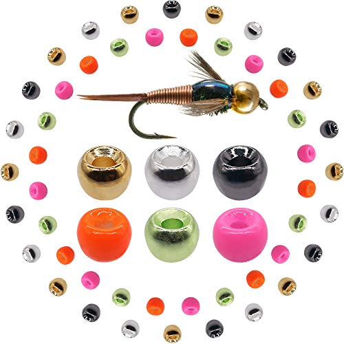 "XFISHMAN Tungsten-Fly-Tying-Beads-Heads-Assortment Fly Tying Materials Nymph for Fly Fishing Tungsten Beads 60 Pack (7/64"" 2.8mm(6 Colors ) 60 Pack)"