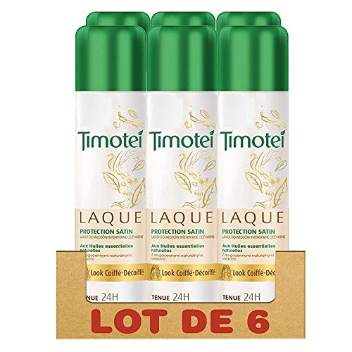 Timotei Laque Capillaire Protection Satin, Huiles Essentielles Naturelles, Look Coiffé-Décoiffé Tenue 24h (Lot de 6x250ml)