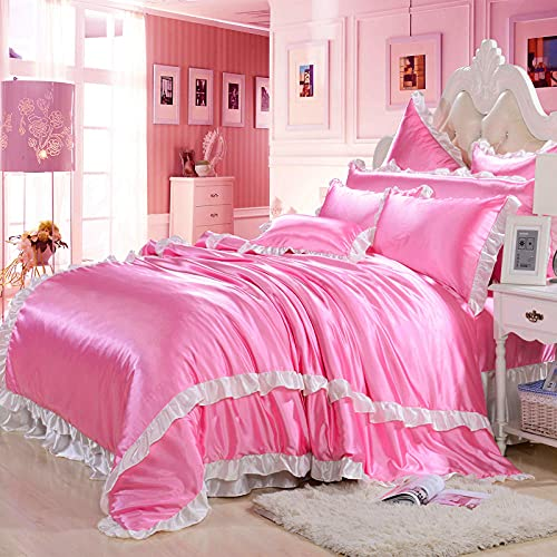 juegos de sábanas 105 x 190,Ropa de cama Seda de lujo ultra suave como Satin de 4 piezas Juego de edredón (edredón + Hoja plana + Hoja ajustada + 4 fundas de almohada), Conjunto de ropa de cama con c