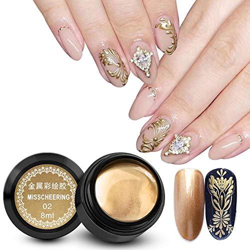 8 ml/Flasche Nagellack Nagellackiertes Gel, Glossy Glitter Metallic Nail Art UV-Lack Lack Langlebig, Schnelltrocknender Nagellack, Glossy Shine Finish, Nail Art Tool(Gold)