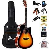 Winzz Guitare Électro-acoustique 4/4, Guitare Folk Adulte Débutant, Guitare Country et Folk 41 Pouces (Dreadnought, Brillant Sunburst)