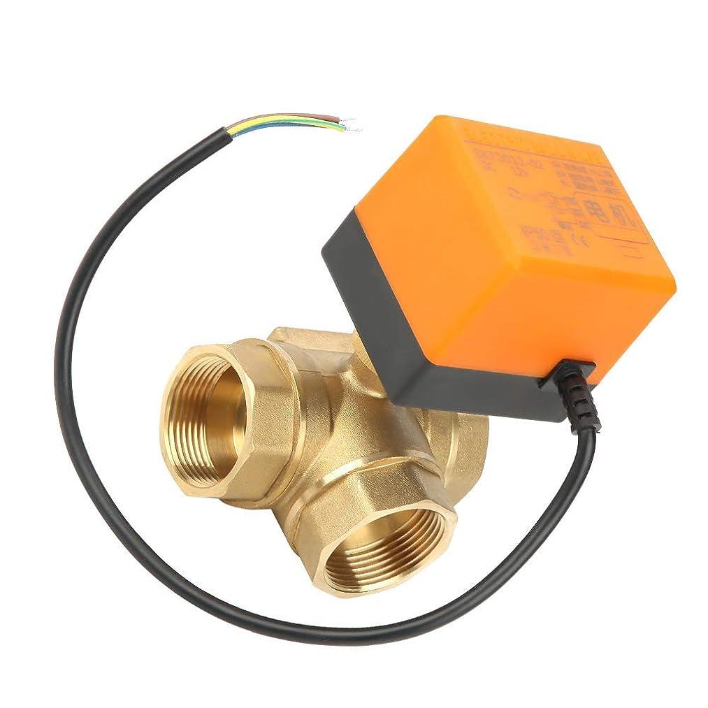 湿気の多いなす驚ZY-YY エアコンDC12V用電動ボールバルブ、DN32 G1-1 / 4真鍮3ウェイ電動ボールバルブ電気