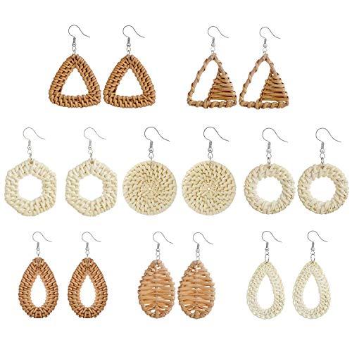 JewelryWe Schmuck 8 Paar Vintage Ohrringe Set Boho-Stil handgemacht Rattan geflochten Geometrische Dreieck Ring Rund Wassertropfen Baumeln Statement Ohrringe Mehrfarbig für Frauen Dame Mädchen