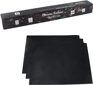 Charma Kaman Lot de 3 tapis de cuisson pour barbecue et four (noir et réutilisable) (XL – 40 x 33 cm)