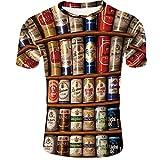 Men's Compression Shirt Tide Marke atmungsaktiv und schnelltrocknend Bedruckte Coke-Dosen mit halben Ärmeln, XL