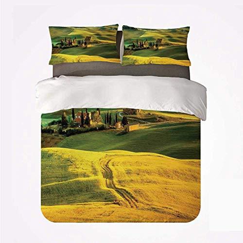 Soefipok Bettwäscheset Toskanische Weiche 3-teiliges Bettwäscheset, idyllische Landschaft der Toskana Straße und Zypressen zum mittelalterlichen Bauernbild für Schlafzimmer