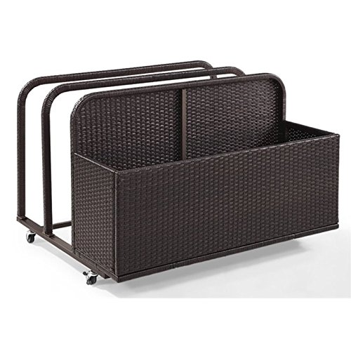 Crosley Furniture CO7303-BR Palm Harbor Outdoor Wicker Rolling Pool Float Caddy, Brown