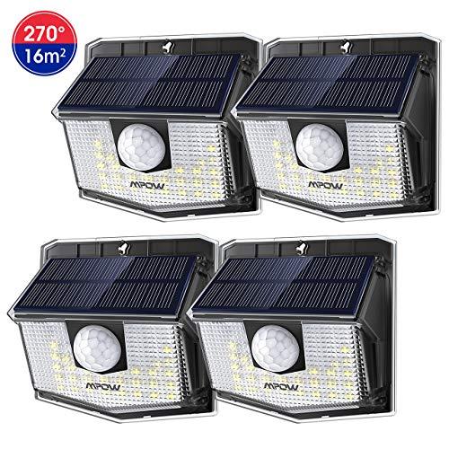 Mpow Luz Solar de Exterior,Lámpara Solar de 3-8M Detección, 270° Ángulo de Iluminación, PIR Sensor de Movimiento, Impermeable IP65, Fácil de Instalar,Jardín, Garaje, Terraza, Patio