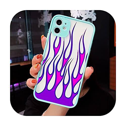 Moda Llamas Rojas Ajuste Caja Del Teléfono Mate Transparente Para iPhone 7 8 11 12 S Mini pro X XS XR MAX Plus Funda Funda-a9-iPhone7or8 Plus