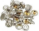 20 botones de presión para atornillar/acero inoxidable – Juego de 3 tornillos con botón y botón de presión (longitud de tornillo de 10 mm o 15 mm) (20 unidades con longitud de rosca de 10 mm)