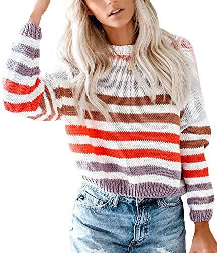 Lantch Damen Pullover Sweater Gestreift Strickpullover Casual Sweatshirt Pulli...
