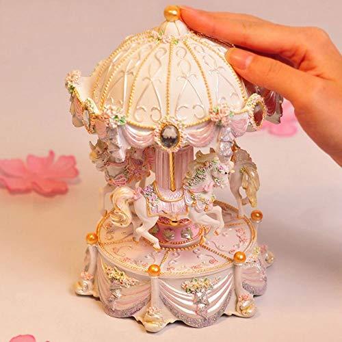 FFFJJJ creativos Regalos tiovivo Mini Music Box con luz Intermitente Música Cajas para Princesa Love Girl San Valentín Navidad giftb