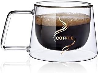 MonLiya Double Wall Glass Coffee Mug Cup Heat Insulation Coffee Mugs Double Layers Drinkware Tea Milk Table Office Home Ta...