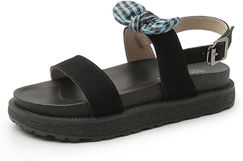 Gusha Women's Platform Sandals Bow Platform shoes Fashion Flat shoes Buckle