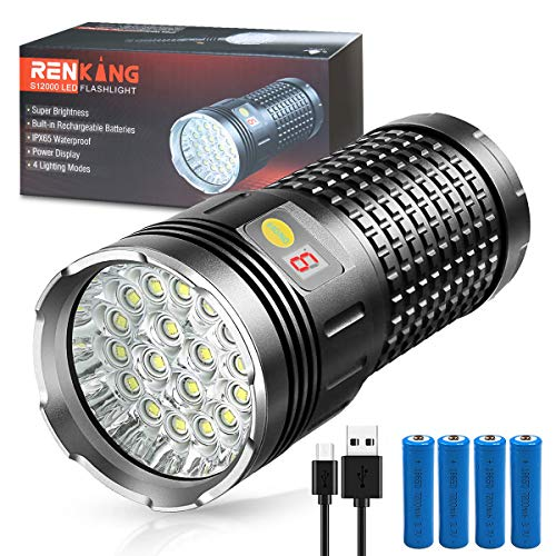 Rechargeable LED Flashlight, Handheld Spotlight - High Lumen Torch, Portable Outdoor Water Resistant Light, USB Rechargeable, 4 Light Modes, Best Camping, Outdoor, Emergency, Everyday Flashlights