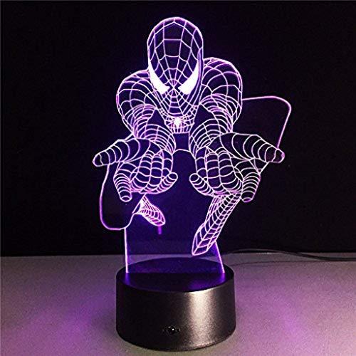 Spiderman 3D Night Light, Jouets pour enfants, Lampe de table pour la décoration de la maison, Veilleuse cadeau LED (sept couleurs) (edition : Three-color touch)