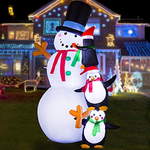HOOJO 8 FT Christmas Inflatable Snowmen with Peguins Outdoor Decoration with Build in LEDs, Blow up Indoor, Yard, Garden Lawn Decoration