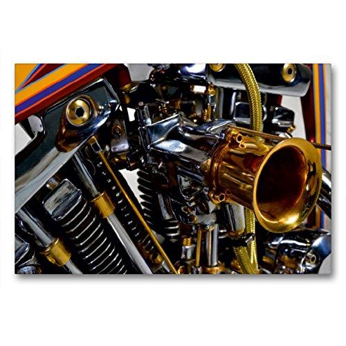 CALVENDO Premium Textil-Leinwand 90 x 60 cm Quer-Format Harley Classic Chopper, Leinwanddruck von Ingo Laue