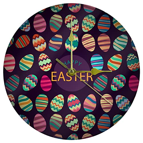 Yoliveya Reloj de pared redondo con diseño de huevos de Pascua, fondo oscuro, decorativo y silencioso, para regalo, hogar, oficina, cocina, guardería, sala de estar, dormitorio, 25 cm