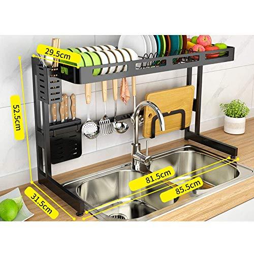 AMYZ Sink Dish Drainer Shelf,Stainless Steel Dish Drainer with Cutlery Holder Black Kitchen Dish Drainer 85cm (33 inch)