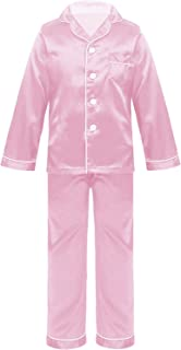 Oyolan 2PCS Unisex Kids Silk Pajamas Outfit Sleepwear Nightwear Short/Long Sleeve Button-Down Tops with Shorts Set