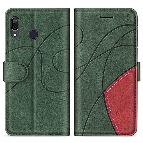 SUMIXON Hülle für Galaxy A20 / Galaxy A30 / Galaxy M10S, PU Leder Brieftasche Schutzhülle für Samsung Galaxy A20 / Galaxy A30, Kratzfestes Handyhülle mit Kartenfächern & Standfunktion, Grün