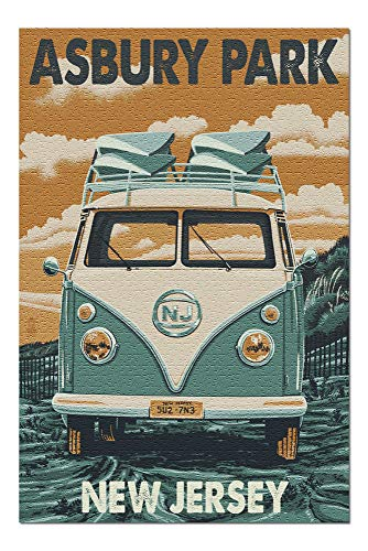 Promini Asbury Park, New Jersey - Camper Van Letterpress - 500 Piece Jigsaw Puzzles for Adults Kids, Puzzles for Toddler Children Learning Educational Puzzles Toys for Girls Boys 15' x 20'