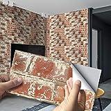 Stickers Carrelage Adhesif Salle de bain Autocollant en tuile pour Salle de Bain et Cuisine - 20x10 cm - Autocollants pour Les Carreaux de Murs, Motif de brique 3D,54 pieces