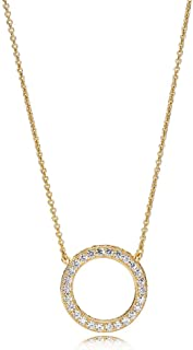 PANDORA Jewlery - Circle of Sparkle Necklace for Women in PANDORA Rose, PANDORA Shine, and Sterling Silver with Clear Cubic Zirconia