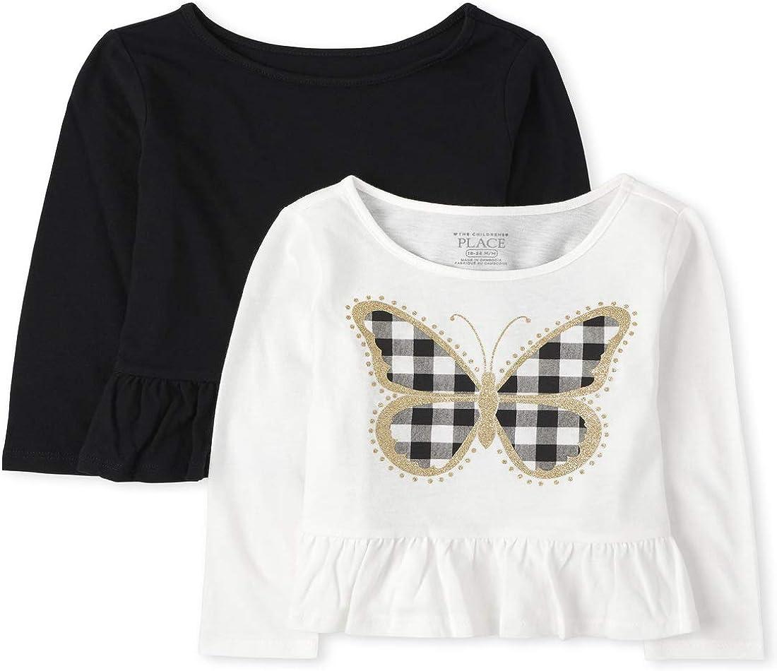 The Children's Place Girls' Toddler Butterfly Peplum Top 2-Pack