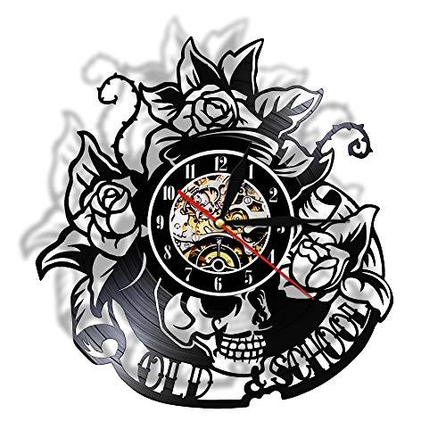 LKJHGU Tatuaje de Calavera con Registro de Vinilo Rosa Reloj de Pared Esqueleto Calavera Thorn Roses Silent Quartz Reloj de Pared gótico Decoración de Pared para el hogar