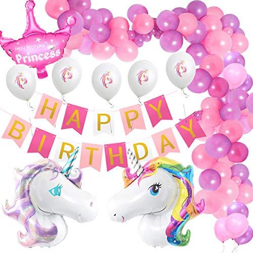 Amteker Einhorn Geburtstagsdeko, Kindergeburtstag Deko, Happy Birthday Banner, Einhorn Luftballons,...