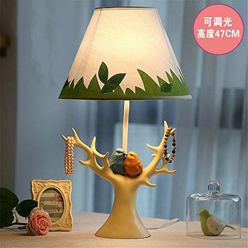 YU-K Lampe de table oiseau lampe de chevet chambre à coucher romantique rétro bijoux créatifs, des lampes de bureau et des cadeaux de bienvenue, 28 * 47cm, bois couvercle de lampe